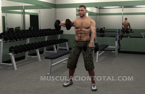 Elevacion frontal de hombros con mancuerna con brazo derecho