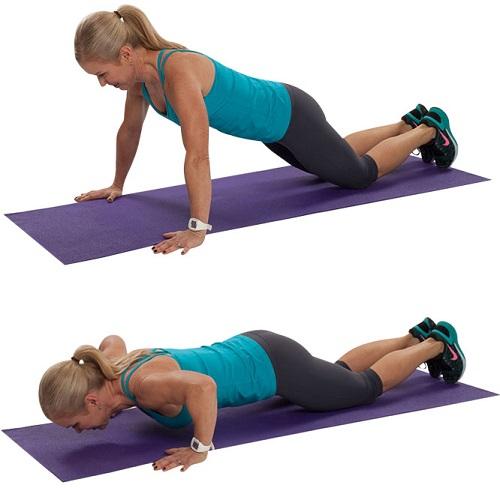 flexiones de brazos en rodillas