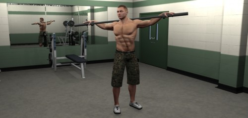 Rotación de torso con barra derecha