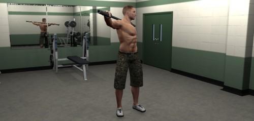 Rotación de torso con barra izquierda