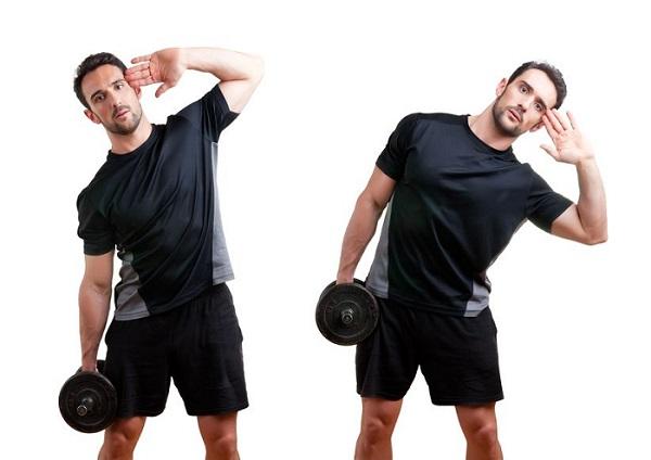 flexion lateral con mancuerna