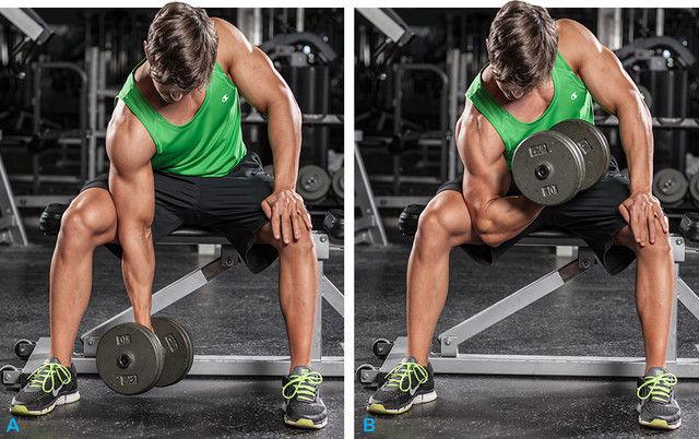 Curl de Bíceps con apoyo en el muslo