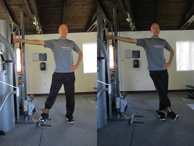 aducción de cadera en polea baja