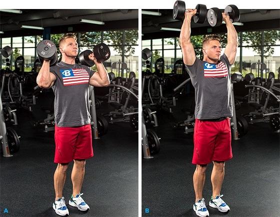 ejercicio con pesas parado